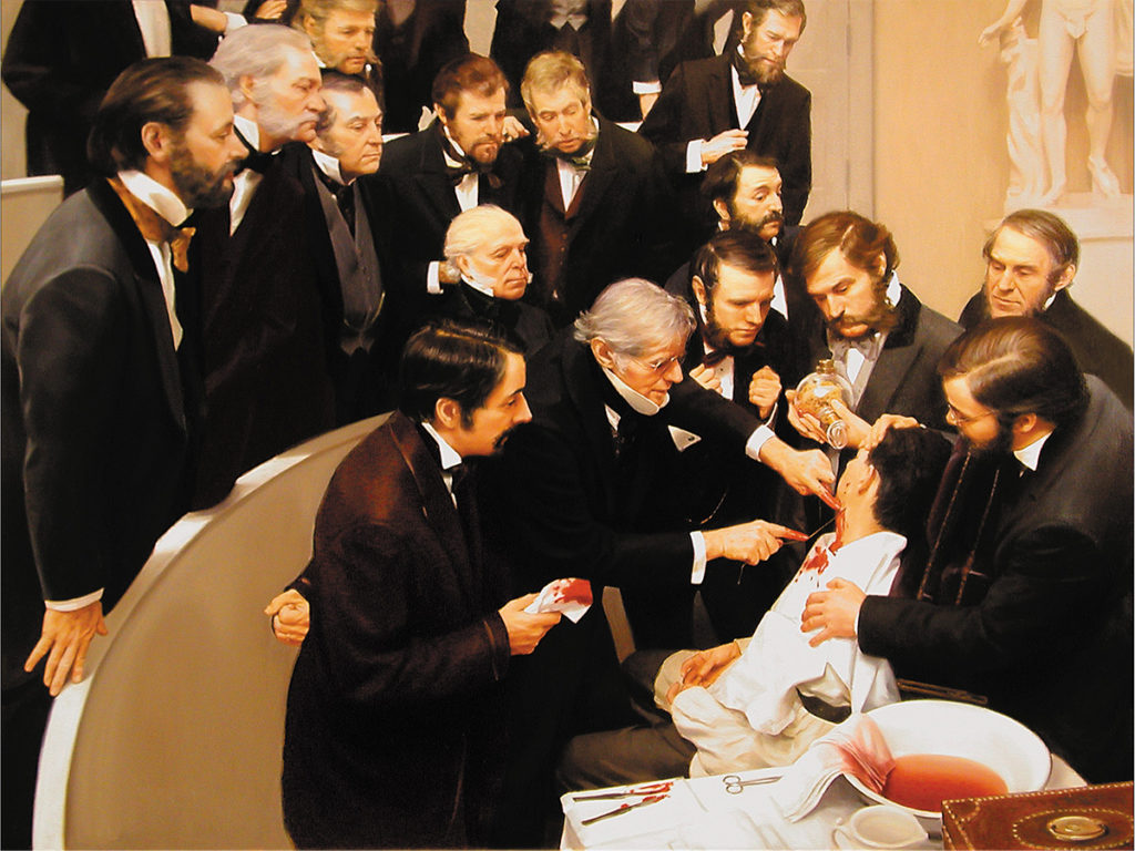 Painting of 19th century men in frock coats surrounding patient undergoing surgery