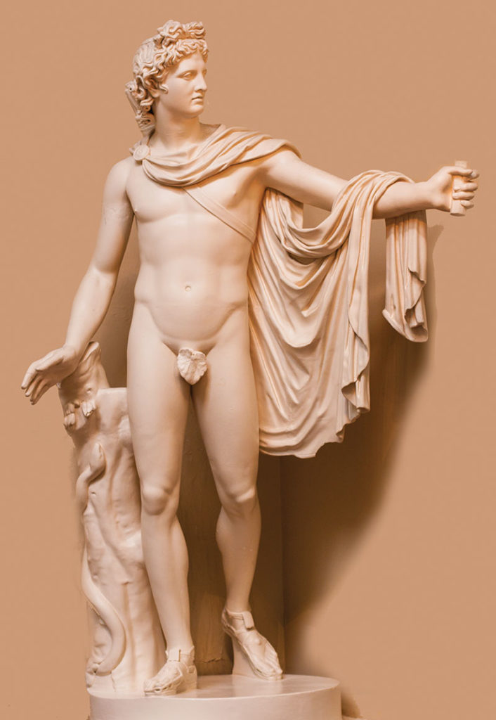 Plaster cast of the statue of Apollo Belvedere in Mass General Ether Dome