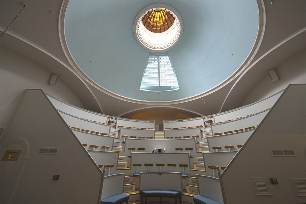 Interior view of Mass General Ether Dome viewing dome above
