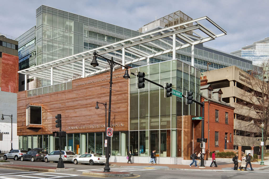 Exterior angled street view of copper and glass MGH museum building