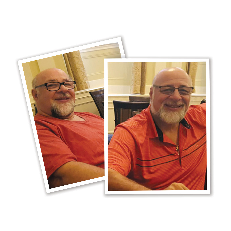 Two identical men in orange shirts