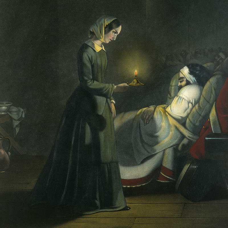 Painting of Florence Nightingale with patient